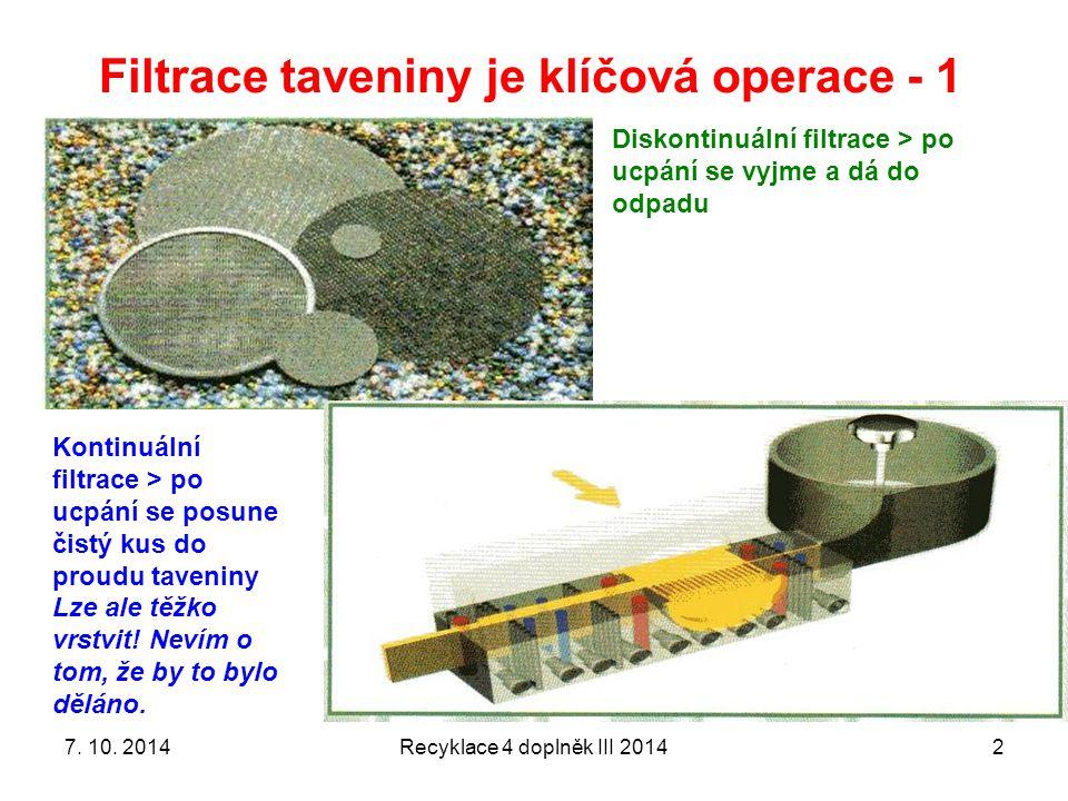 Filtrace taveniny je klíčová operace - 1 Recyklace 4 doplněk III 20142 Diskontinuální filtrace > po ucpání se vyjme a dá do odpadu Kontinuální filtrace > po ucpání se posune čistý kus do proudu taveniny Lze ale těžko vrstvit.