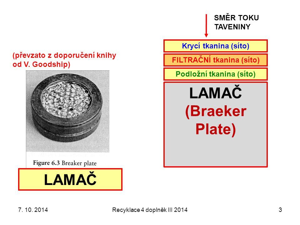 Recyklace 4 doplněk III 20143 SMĚR TOKU TAVENINY Krycí tkanina (síto) FILTRAČNÍ tkanina (síto) Podložní tkanina (síto) LAMAČ (Braeker Plate) LAMAČ (převzato z doporučení knihy od V.