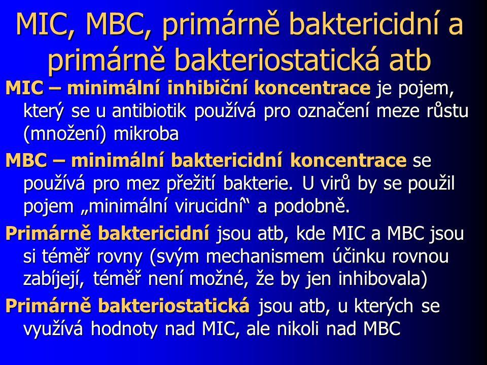 MIC, MBC, primárně baktericidní a primárně bakteriostatická atb MIC – minimální inhibiční koncentrace je pojem, který se u antibiotik používá pro ozna