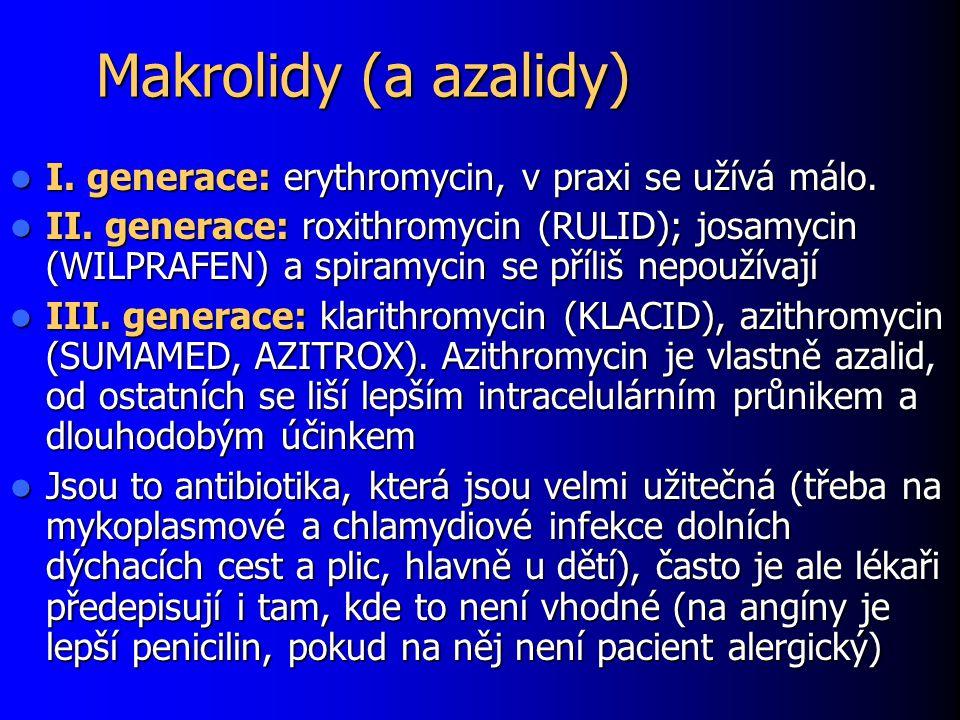 Makrolidy (a azalidy) I. generace: erythromycin, v praxi se užívá málo. I. generace: erythromycin, v praxi se užívá málo. II. generace: roxithromycin