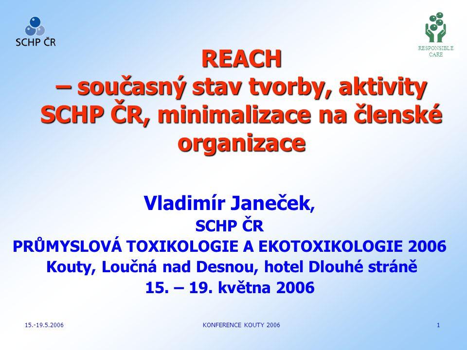 Vladimír Janeček, SCHP ČR PRŮMYSLOVÁ TOXIKOLOGIE A EKOTOXIKOLOGIE 2006 Kouty, Loučná nad Desnou, hotel Dlouhé stráně 15. – 19. května 2006 RESPONSIBLE