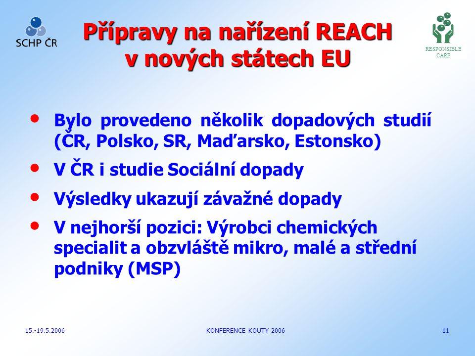 Přípravy na nařízení REACH v nových státech EU Bylo provedeno několik dopadových studií (ČR, Polsko, SR, Maďarsko, Estonsko) V ČR i studie Sociální do