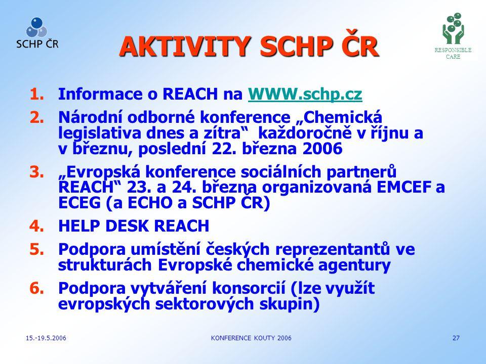 """AKTIVITY SCHP ČR 1.Informace o REACH na WWW.schp.czWWW.schp.cz 2.Národní odborné konference """"Chemická legislativa dnes a zítra"""" každoročně v říjnu a v"""