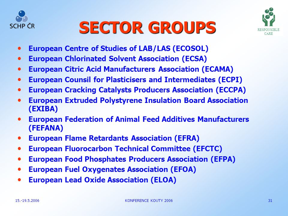 SECTOR GROUPS European Centre of Studies of LAB/LAS (ECOSOL) European Chlorinated Solvent Association (ECSA) European Citric Acid Manufacturers Associ