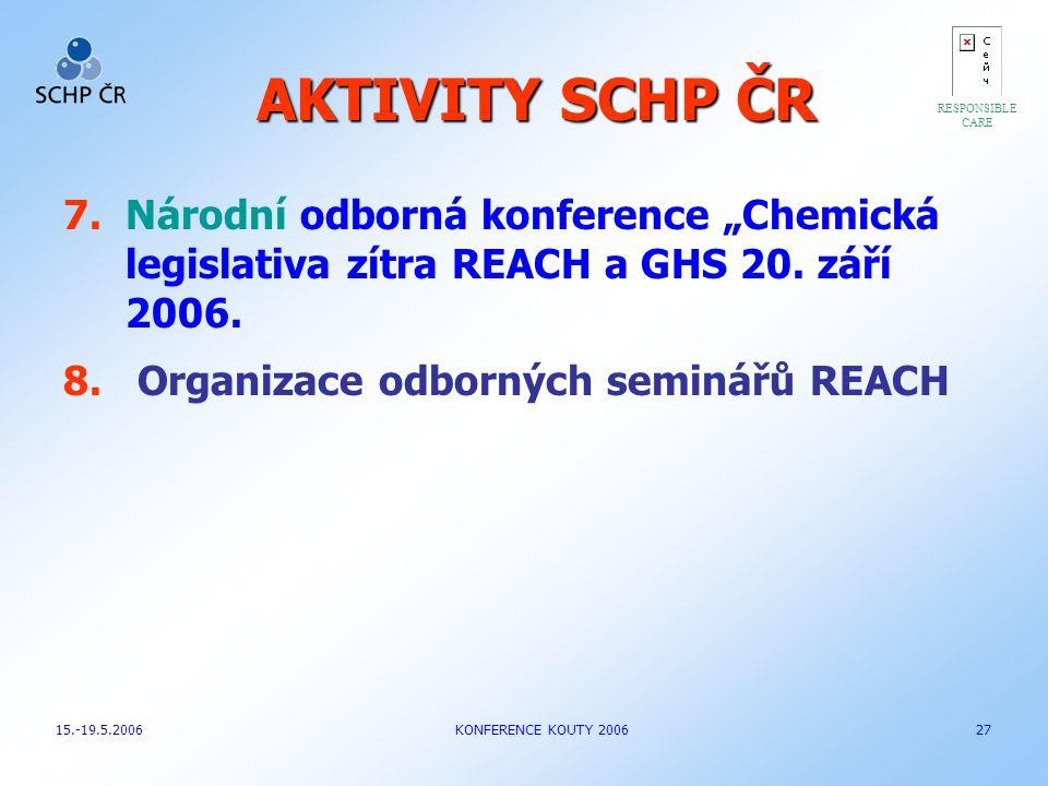 """AKTIVITY SCHP ČR 7.Národní odborná konference """"Chemická legislativa zítra REACH a GHS 20. září 2006. 8. Organizace odborných seminářů REACH RESPONSIBL"""