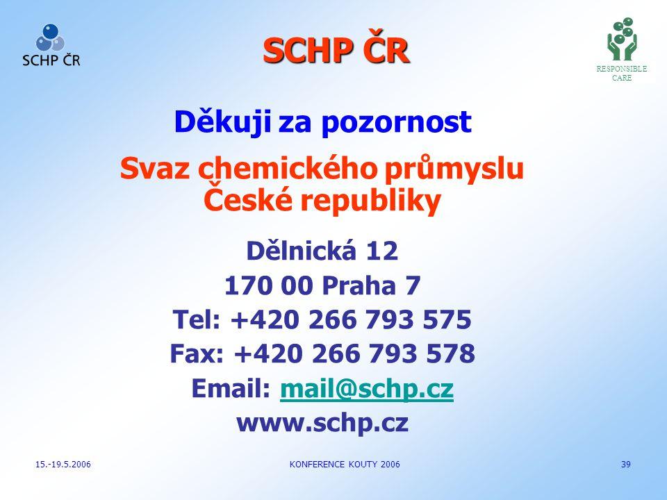 SCHP ČR Děkuji za pozornost Svaz chemického průmyslu České republiky Dělnická 12 170 00 Praha 7 Tel: +420 266 793 575 Fax: +420 266 793 578 Email: mai