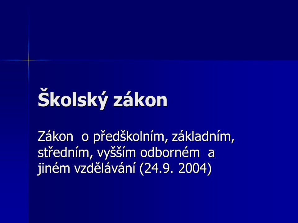 Školský zákon Zákon o předškolním, základním, středním, vyšším odborném a jiném vzdělávání (24.9.