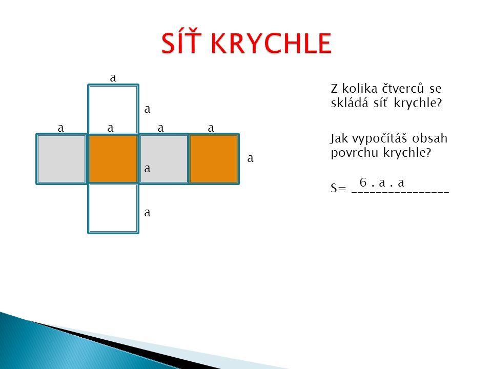 Z kolika čtverců se skládá síť krychle. Jak vypočítáš obsah povrchu krychle.
