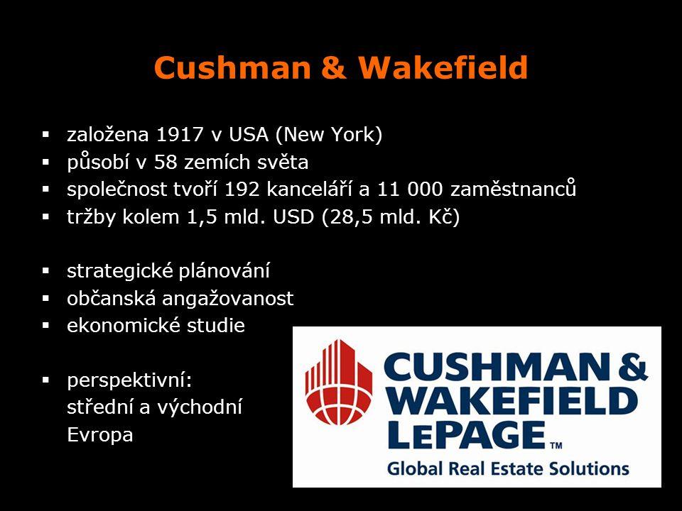 Cushman & Wakefield  založena 1917 v USA (New York)  působí v 58 zemích světa  společnost tvoří 192 kanceláří a 11 000 zaměstnanců  tržby kolem 1,