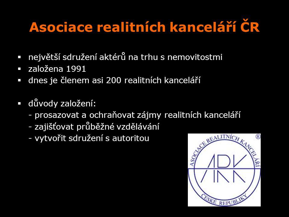 Asociace realitních kanceláří ČR  největší sdružení aktérů na trhu s nemovitostmi  založena 1991  dnes je členem asi 200 realitních kanceláří  dův