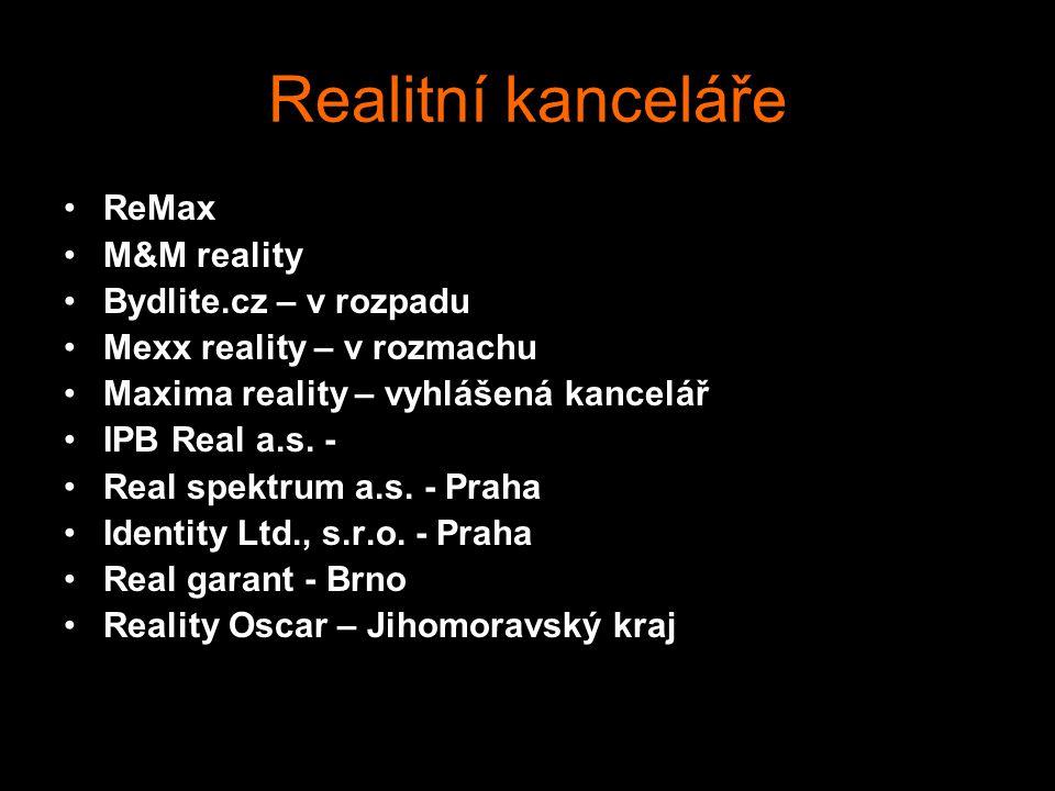 Realitní kanceláře ReMax M&M reality Bydlite.cz – v rozpadu Mexx reality – v rozmachu Maxima reality – vyhlášená kancelář IPB Real a.s. - Real spektru