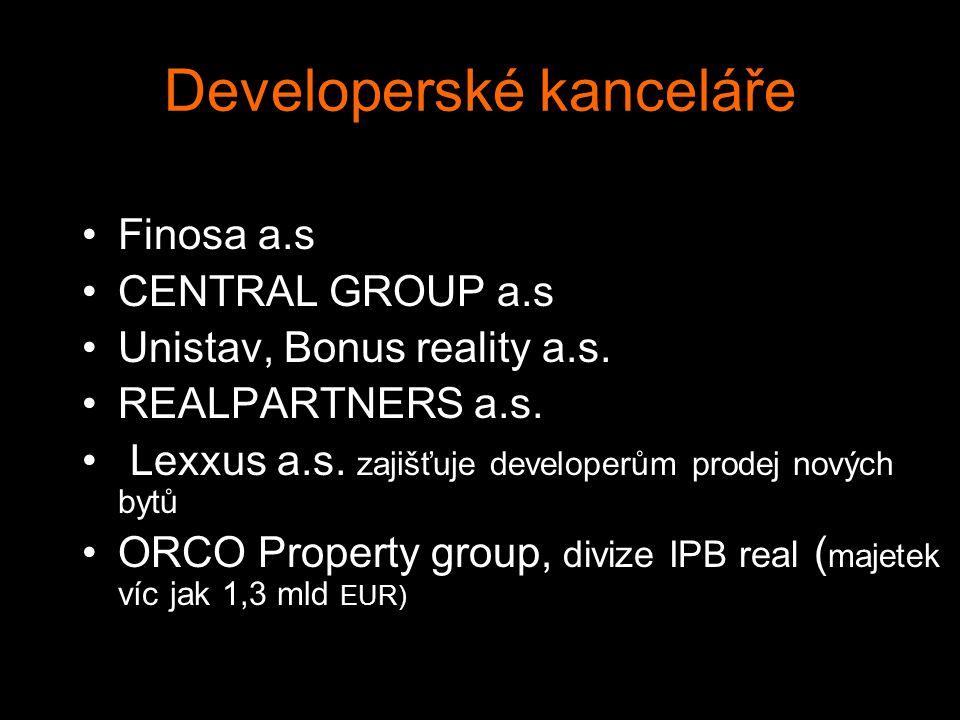Developerské kanceláře Finosa a.s CENTRAL GROUP a.s Unistav, Bonus reality a.s. REALPARTNERS a.s. Lexxus a.s. zajišťuje developerům prodej nových bytů