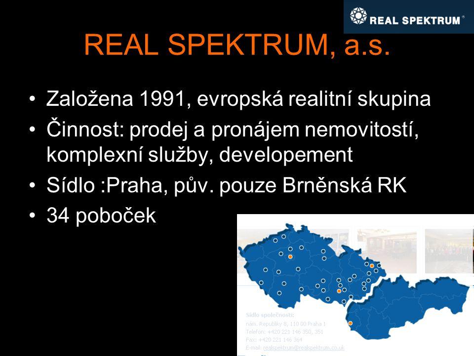 REAL SPEKTRUM, a.s. Založena 1991, evropská realitní skupina Činnost: prodej a pronájem nemovitostí, komplexní služby, developement Sídlo :Praha, pův.
