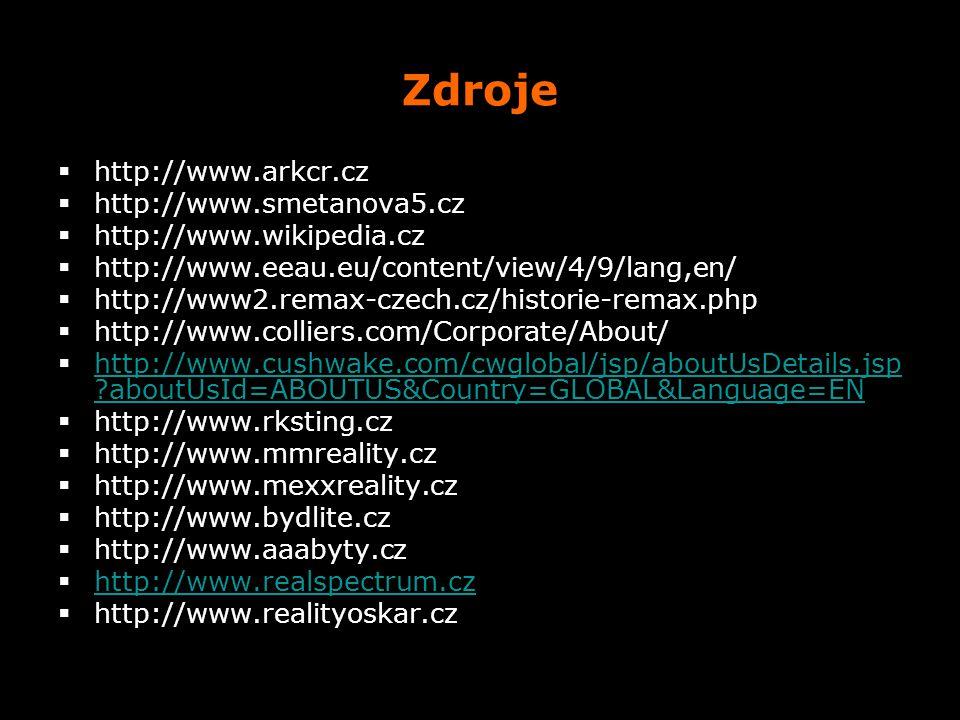 Zdroje  http://www.arkcr.cz  http://www.smetanova5.cz  http://www.wikipedia.cz  http://www.eeau.eu/content/view/4/9/lang,en/  http://www2.remax-c