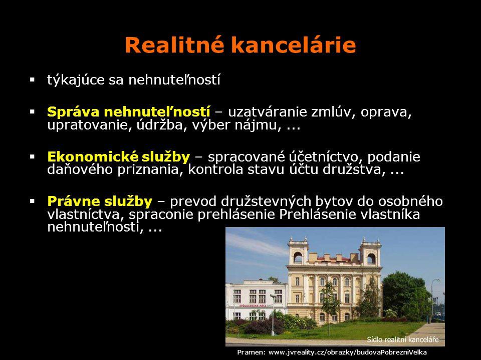 Realitné kancelárie  týkajúce sa nehnuteľností  Správa nehnuteľností – uzatváranie zmlúv, oprava, upratovanie, údržba, výber nájmu,...  Ekonomické
