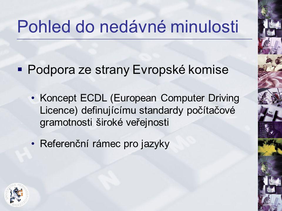 Pohled do nedávné minulosti  Podpora ze strany Evropské komise Koncept ECDL (European Computer Driving Licence) definujícímu standardy počítačové gra