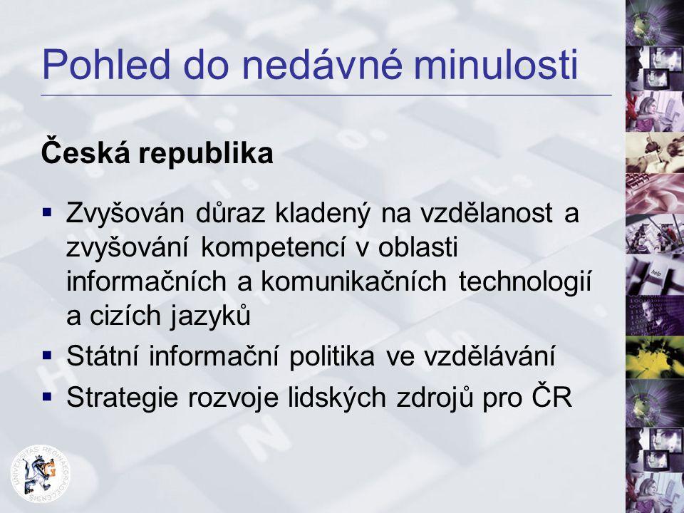 Pohled do nedávné minulosti Česká republika  Zvyšován důraz kladený na vzdělanost a zvyšování kompetencí v oblasti informačních a komunikačních techn