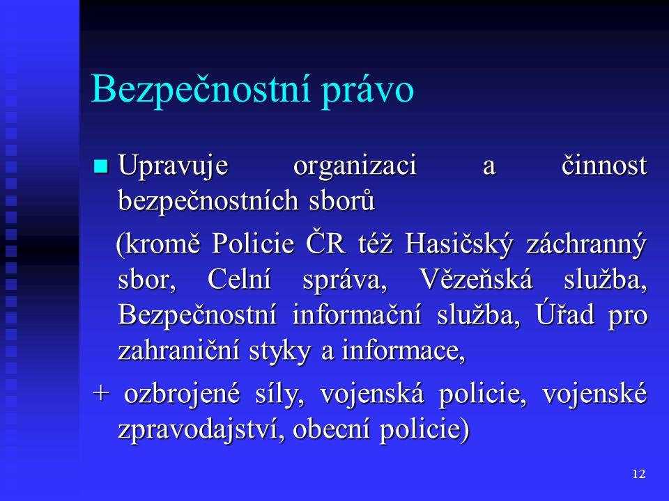 Bezpečnostní právo Upravuje organizaci a činnost bezpečnostních sborů Upravuje organizaci a činnost bezpečnostních sborů (kromě Policie ČR též Hasičsk