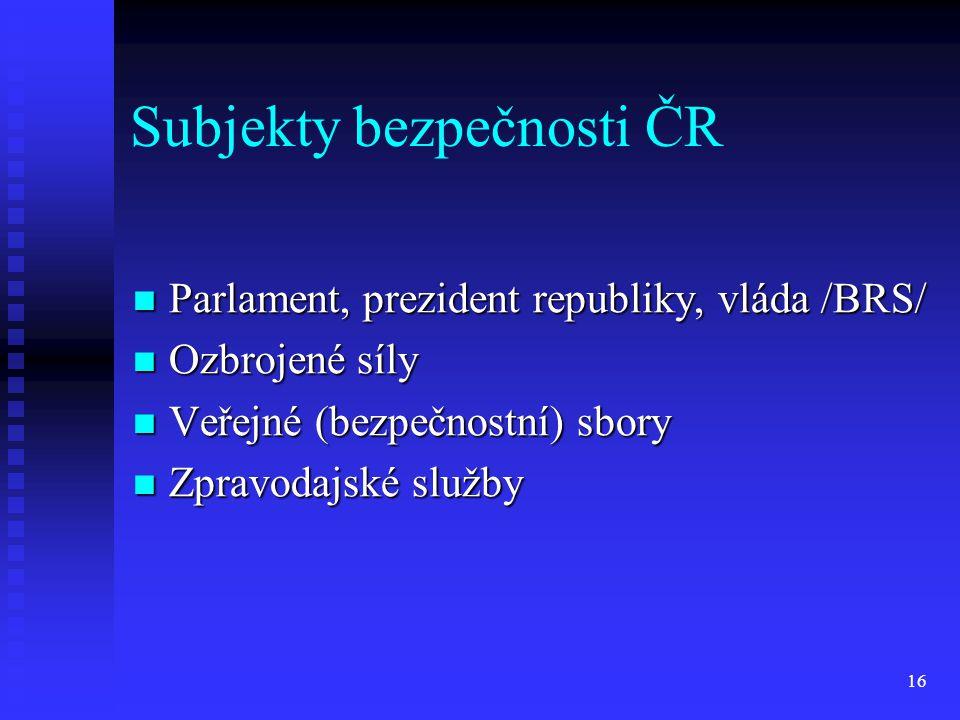 Subjekty bezpečnosti ČR Parlament, prezident republiky, vláda /BRS/ Parlament, prezident republiky, vláda /BRS/ Ozbrojené síly Ozbrojené síly Veřejné