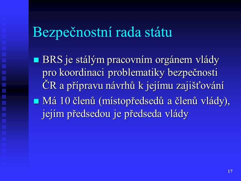 Bezpečnostní rada státu BRS je stálým pracovním orgánem vlády pro koordinaci problematiky bezpečnosti ČR a přípravu návrhů k jejímu zajišťování BRS je