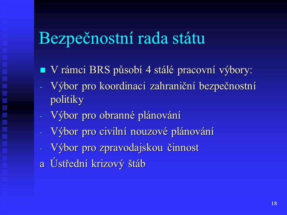 Bezpečnostní rada státu V rámci BRS působí 4 stálé pracovní výbory: V rámci BRS působí 4 stálé pracovní výbory: - Výbor pro koordinaci zahraniční bezp