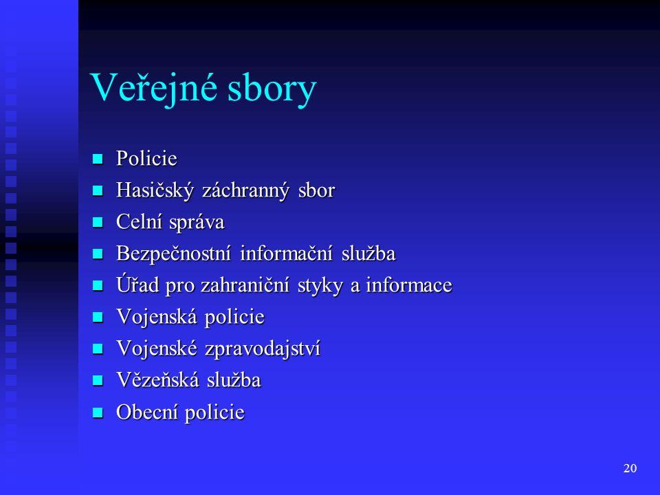 Veřejné sbory Policie Policie Hasičský záchranný sbor Hasičský záchranný sbor Celní správa Celní správa Bezpečnostní informační služba Bezpečnostní in