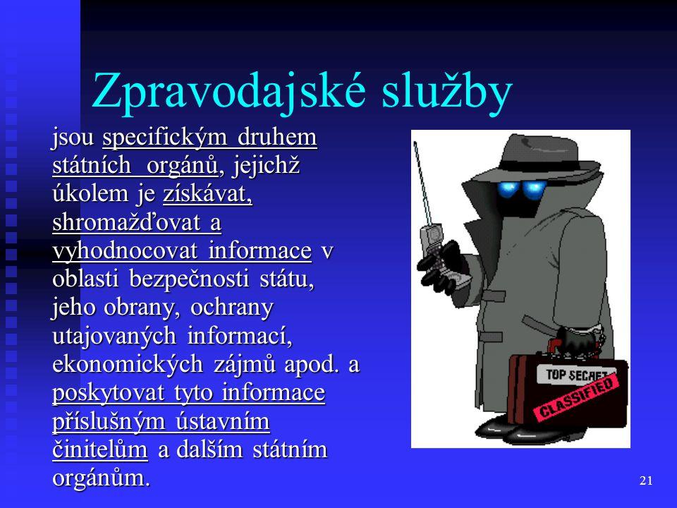 21 Zpravodajské služby jsou specifickým druhem státních orgánů, jejichž úkolem je získávat, shromažďovat a vyhodnocovat informace v oblasti bezpečnost