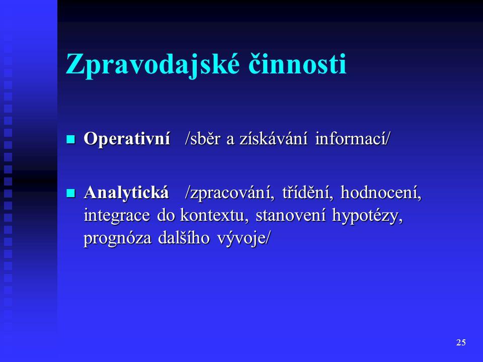 25 Zpravodajské činnosti Operativní /sběr a získávání informací/ Operativní /sběr a získávání informací/ Analytická /zpracování, třídění, hodnocení, i
