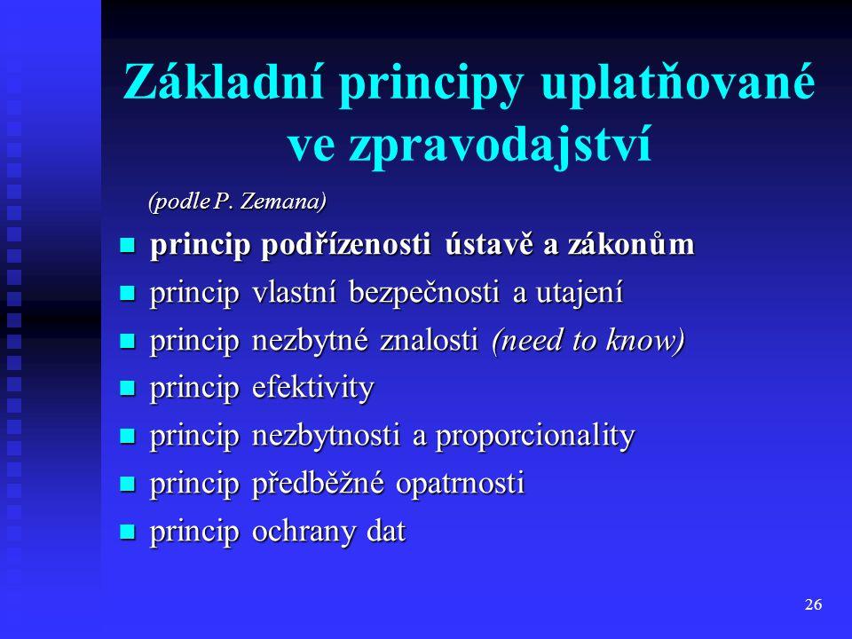 26 Základní principy uplatňované ve zpravodajství (podle P. Zemana) (podle P. Zemana) princip podřízenosti ústavě a zákonům princip podřízenosti ústav