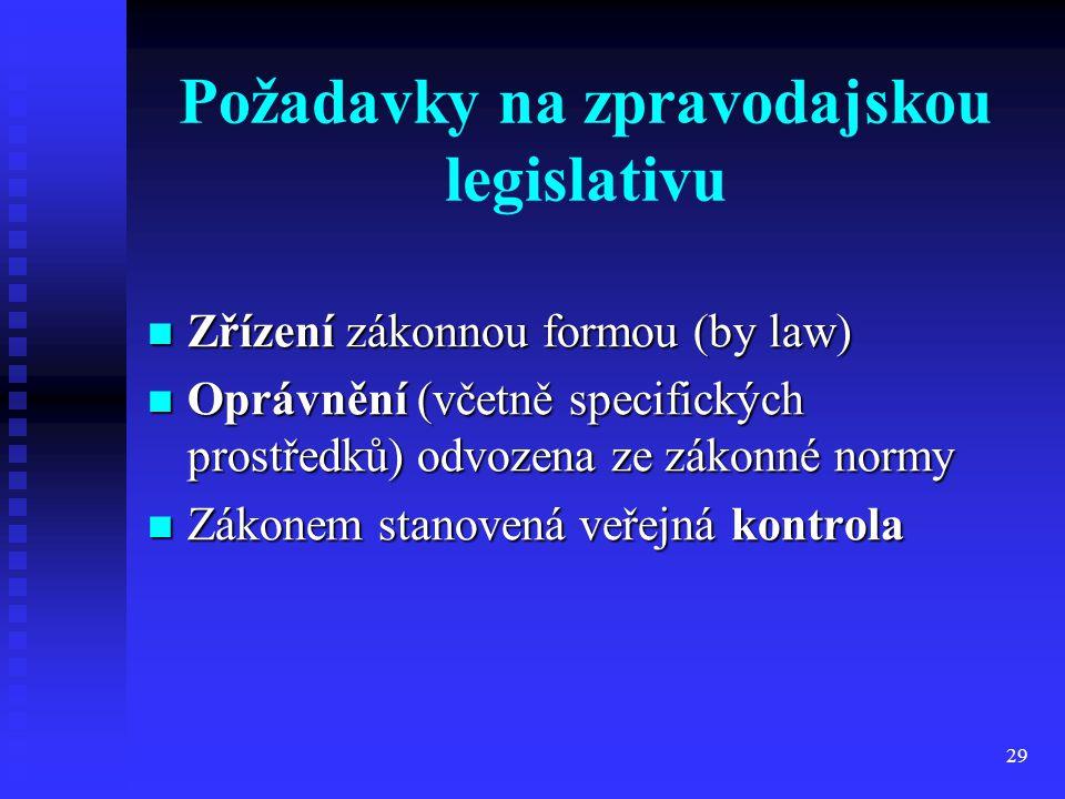 29 Požadavky na zpravodajskou legislativu Zřízení zákonnou formou (by law) Zřízení zákonnou formou (by law) Oprávnění (včetně specifických prostředků)