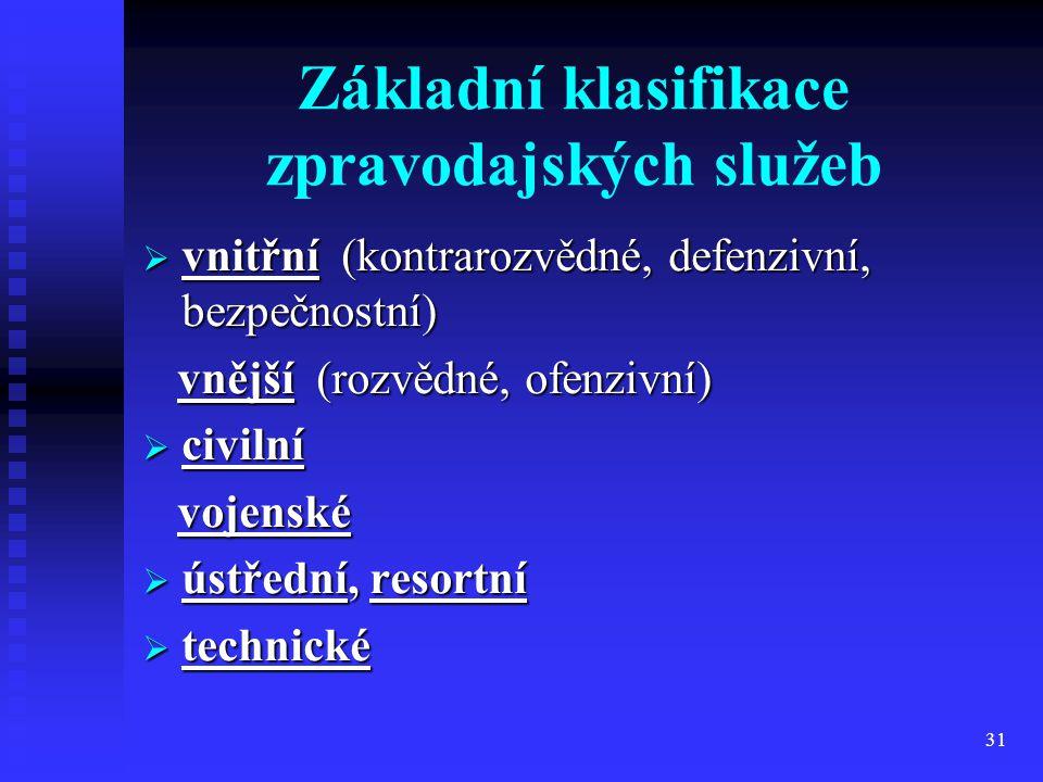31 Základní klasifikace zpravodajských služeb  vnitřní (kontrarozvědné, defenzivní, bezpečnostní) vnější (rozvědné, ofenzivní) vnější (rozvědné, ofen