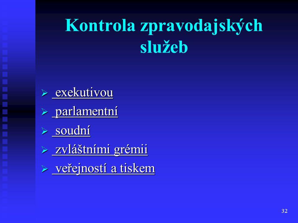 32 Kontrola zpravodajských služeb  exekutivou  parlamentní  soudní  zvláštními grémii  veřejností a tiskem