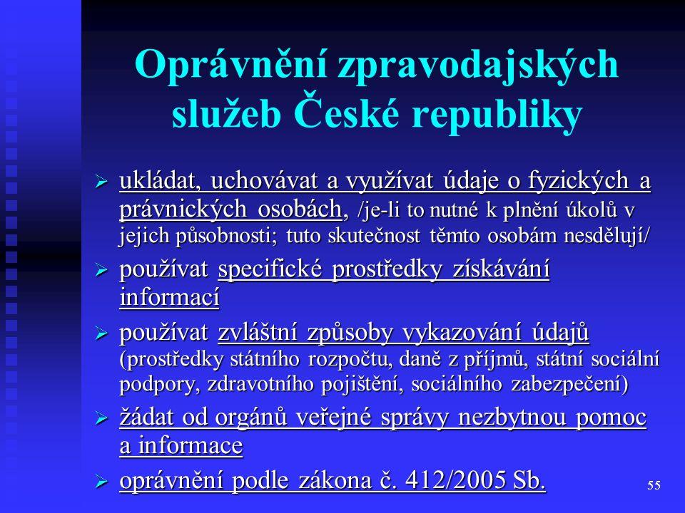 55 Oprávnění zpravodajských služeb České republiky  ukládat, uchovávat a využívat údaje o fyzických a právnických osobách, /je-li to nutné k plnění ú
