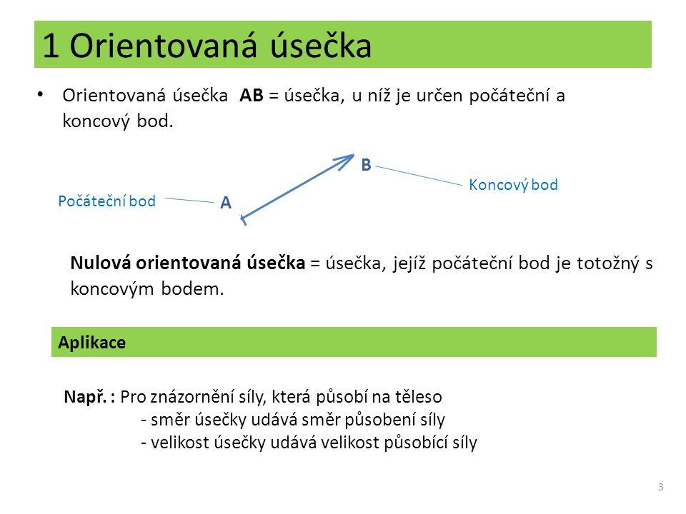 1 Orientovaná úsečka Orientovaná úsečka AB = úsečka, u níž je určen počáteční a koncový bod. 3 A B Počáteční bod Koncový bod Nulová orientovaná úsečka