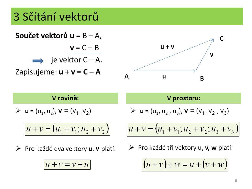 3 Sčítání vektorů Součet vektorů u = B – A, v = C – B je vektor C – A. Zapisujeme: u + v = C – A 8  u = (u 1, u 2 ), v = (v 1, v 2 ) V rovině:V prost