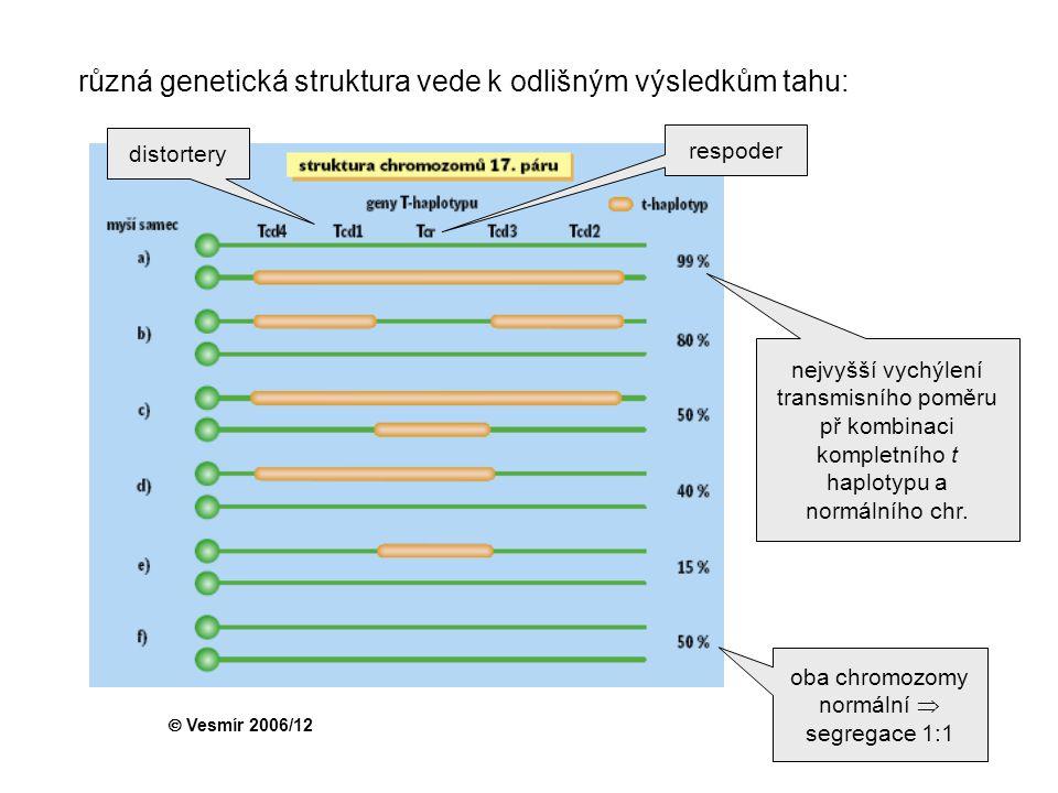 různá genetická struktura vede k odlišným výsledkům tahu: oba chromozomy normální  segregace 1:1 nejvyšší vychýlení transmisního poměru př kombinaci