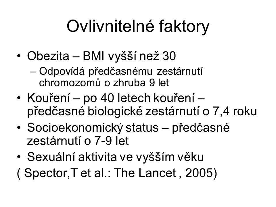 Ovlivnitelné faktory Obezita – BMI vyšší než 30 –Odpovídá předčasnému zestárnutí chromozomů o zhruba 9 let Kouření – po 40 letech kouření – předčasné biologické zestárnutí o 7,4 roku Socioekonomický status – předčasné zestárnutí o 7-9 let Sexuální aktivita ve vyšším věku ( Spector,T et al.: The Lancet, 2005)