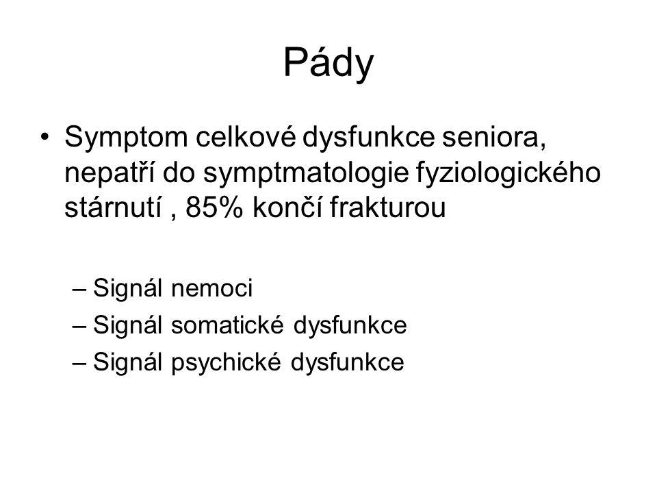 Pády Symptom celkové dysfunkce seniora, nepatří do symptmatologie fyziologického stárnutí, 85% končí frakturou –Signál nemoci –Signál somatické dysfunkce –Signál psychické dysfunkce