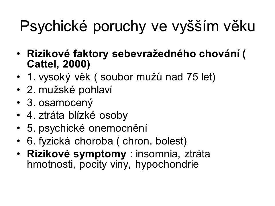 Psychické poruchy ve vyšším věku Rizikové faktory sebevražedného chování ( Cattel, 2000) 1.