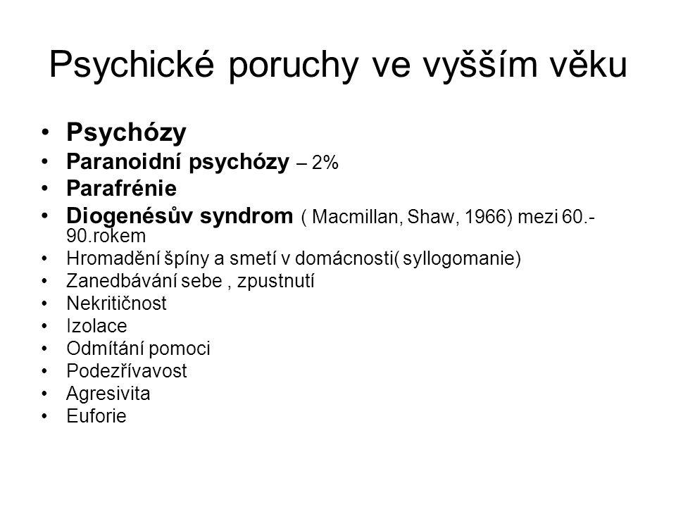 Psychické poruchy ve vyšším věku Psychózy Paranoidní psychózy – 2% Parafrénie Diogenésův syndrom ( Macmillan, Shaw, 1966) mezi 60.- 90.rokem Hromadění špíny a smetí v domácnosti( syllogomanie) Zanedbávání sebe, zpustnutí Nekritičnost Izolace Odmítání pomoci Podezřívavost Agresivita Euforie