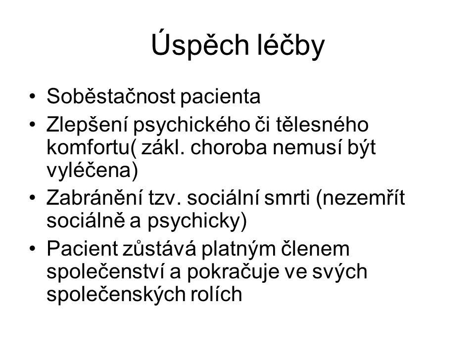Úspěch léčby Soběstačnost pacienta Zlepšení psychického či tělesného komfortu( zákl.