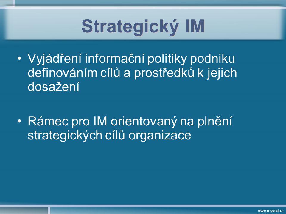 www.e-quest.cz Strategický IM Vyjádření informační politiky podniku definováním cílů a prostředků k jejich dosažení Rámec pro IM orientovaný na plnění strategických cílů organizace