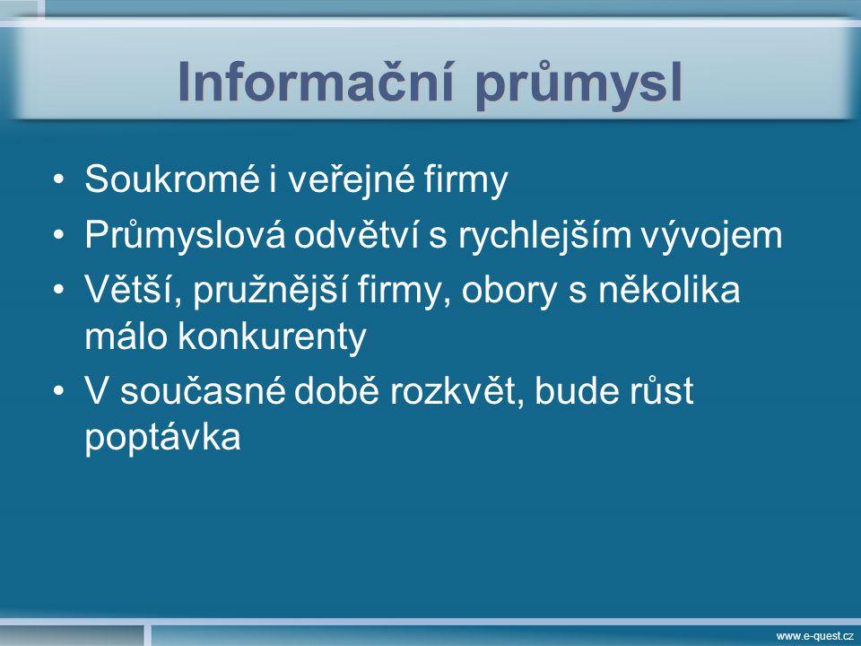 www.e-quest.cz Informační průmysl Rešerše – průzkumy –Primární, sekundární –Ad-hoc, EWS, analýzy Management –Informační DMS, informační audit –Znalostní Explicitní znalosti Tacitní znalosti