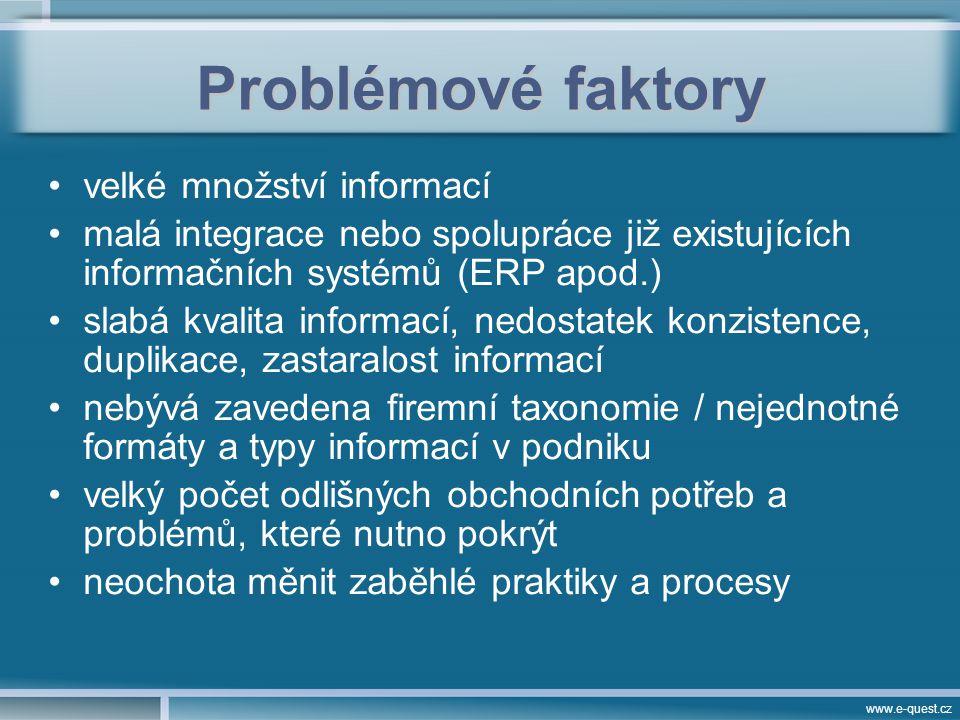 www.e-quest.cz Problémové faktory velké množství informací malá integrace nebo spolupráce již existujících informačních systémů (ERP apod.) slabá kvalita informací, nedostatek konzistence, duplikace, zastaralost informací nebývá zavedena firemní taxonomie / nejednotné formáty a typy informací v podniku velký počet odlišných obchodních potřeb a problémů, které nutno pokrýt neochota měnit zaběhlé praktiky a procesy
