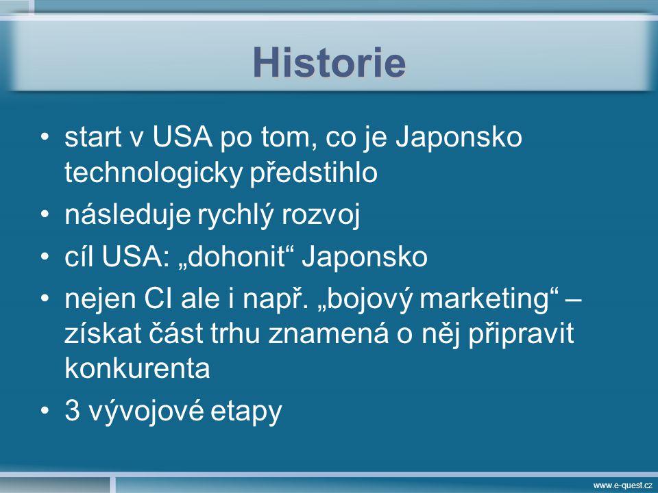 """www.e-quest.cz Historie start v USA po tom, co je Japonsko technologicky předstihlo následuje rychlý rozvoj cíl USA: """"dohonit Japonsko nejen CI ale i např."""