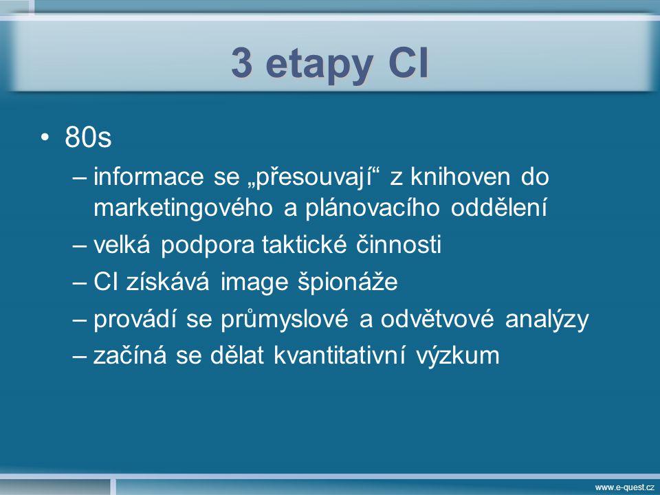 """www.e-quest.cz 3 etapy CI 80s –informace se """"přesouvají z knihoven do marketingového a plánovacího oddělení –velká podpora taktické činnosti –CI získává image špionáže –provádí se průmyslové a odvětvové analýzy –začíná se dělat kvantitativní výzkum"""