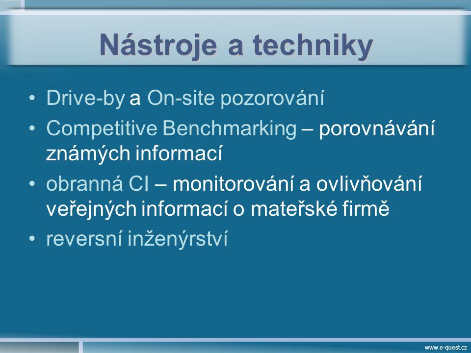 www.e-quest.cz Nástroje a techniky Drive-by a On-site pozorování Competitive Benchmarking – porovnávání známých informací obranná CI – monitorování a ovlivňování veřejných informací o mateřské firmě reversní inženýrství