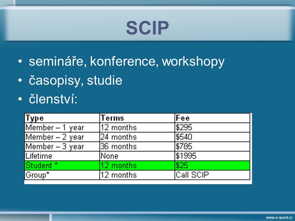 www.e-quest.cz SCIP semináře, konference, workshopy časopisy, studie členství: