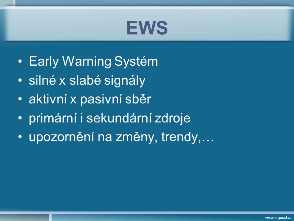 www.e-quest.cz EWS Early Warning Systém silné x slabé signály aktivní x pasivní sběr primární i sekundární zdroje upozornění na změny, trendy,…