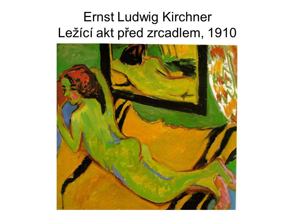 Ernst Ludwig Kirchner Ležící akt před zrcadlem, 1910